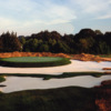 A view of a hole surrounded by tricky bunkers at Seawane Club