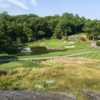 A view of a well protected green at South from Westchester Country Club